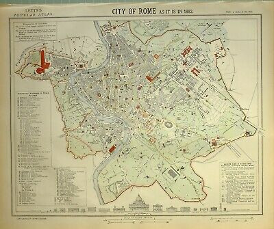 1882 Letts Map City Of Rome Plan Castello St Angelo Railway Stations Colosseum