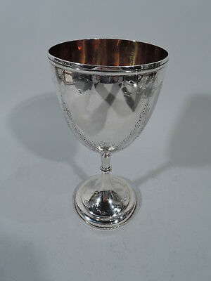 Victorian Goblet - Antique Garlands Barware English Sterling Silver - 1873