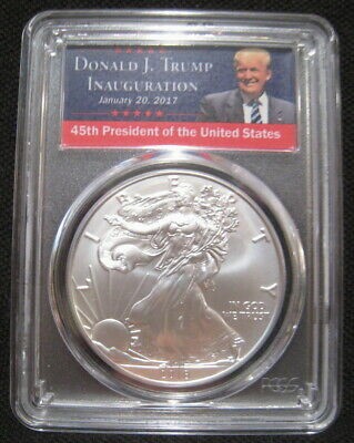 2018 W $1 American BURNISHED SILVER EAGLE PCGS SP70 First Day Issue TRUMP Label