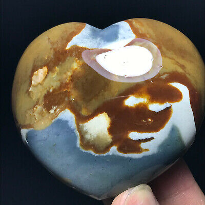Top NATURAL POLISHED POLYCHROME JASPER HEART From Madagascar 179g 68mm A11131