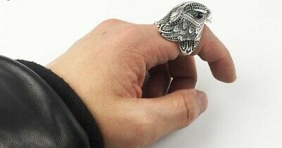 925 Sterling Silver, Stunning, Horus, Detailed Mens Falcon Ring, Work Of Art