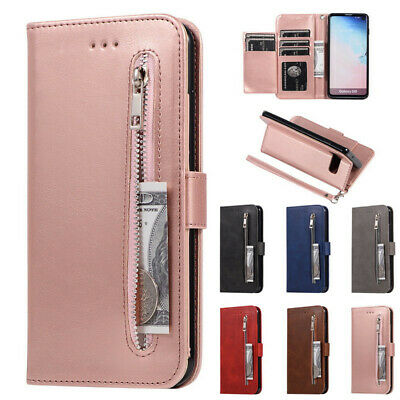 For Samsung Galaxy Phones Case Flip Real Leather Card Slot Zip Wallet Skin Cover