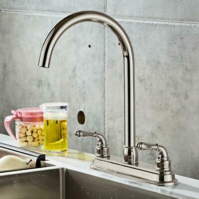 NEW High Quality Stainless Steel 2 Handle Home Kitchen Sink Faucet Swivel Spout