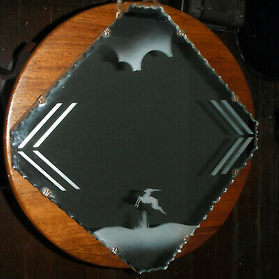 Vintage Art Deco 30's - 40's Etched Scalloped Edge Mirror