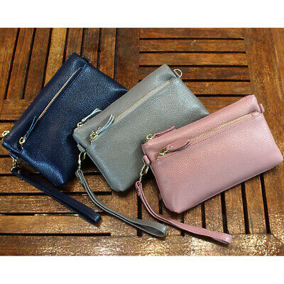 Wristlet Women Cowhide Purse Clutch Bag Phone Wallet Wristlets Pouch New