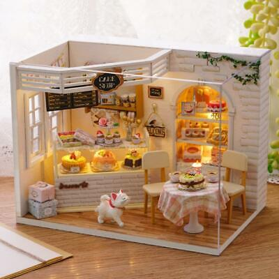 1xDollhouse Miniature Furniture DIY Kit Wood Toy Cake lights Cottage W//LED L0Y8