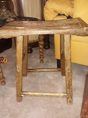 Antique Country Farm Barn Stool Cow Milking Bench Aged Patina Country Decor