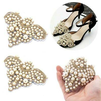 2x Pearl Flower Shoe Clip Rhinestones Removable Pointed Shoes Accessories
