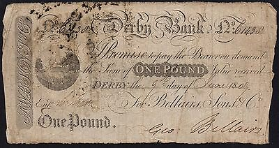 1809 DERBY BANK £1 BANKNOTE * 1438 * GOOD * Outing 673 *