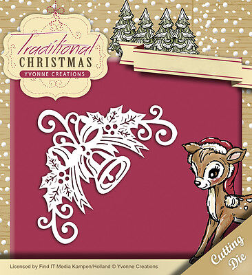 YVONNE CREATIONS ~ TRADITIONAL CHRISTMAS ~ BELL CORNER ~ Stanzschablone