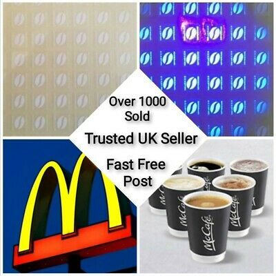 300 Mcdonalds Coffee Stickers ULTRAVIOLET Stickers  = 50 cups * FAST POST *