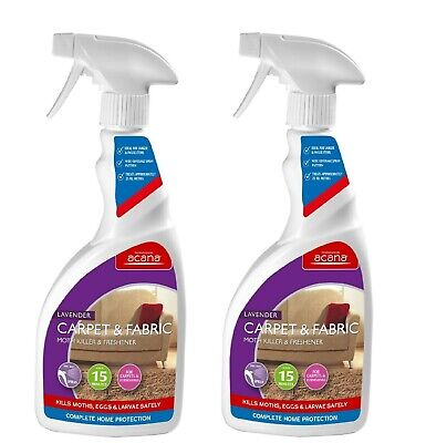 2 x Acana Carpet & Fabric MOTH KILLER and FRESHENER with Lavender 500ml