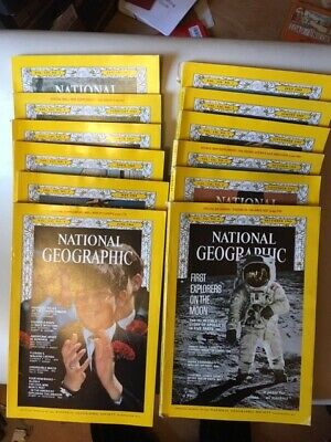 National Geographic X12 1969 Complete Year Apollo 11 8 Moon Landing Record Nasa