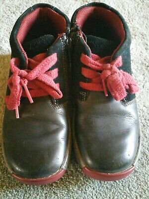 Clarks Black Red Lace And Zip Suede And Leather ankle Boots 12 girls boys