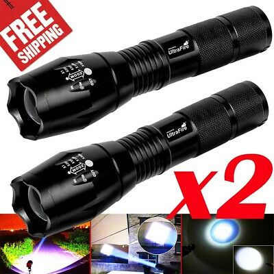 2Pcs Tactical Police Zoomable Focus Flashlight 350000LM T6 LED Torch lights Lamp