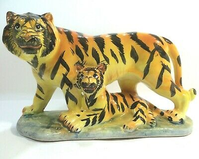 Vintage Tiger with Tiger Cub Hand Painted Ceramic Figurine