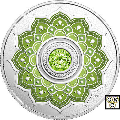 2018 'August-Birthstones' Crystalized Prf $5 Silver Coin 1/4oz .9999 Fine(18534)