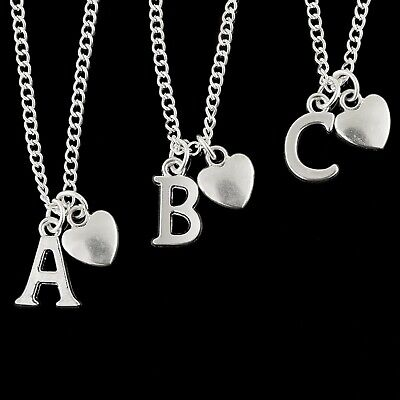 """Personalised Silver Plated Initial Letter Heart 20"""" Necklace Pendant A to Z"""