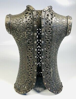 "Antique 19th Century Middle Eastern Islamic Bronze Armor Model Figure 7.5"" Tall"