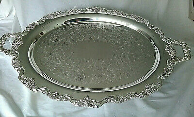 """Vintage Huge TOWLE Grand Duchess Silver-Plate Footed Tray 30""""X20"""" MODEL 6955 NIB"""
