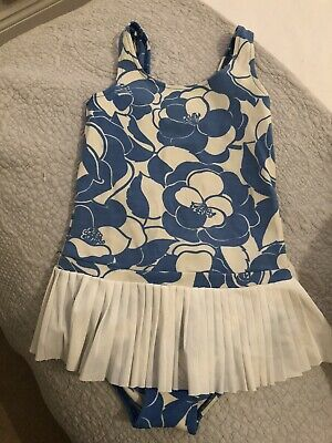 Girls 1960's Vintage Swimsuit With Built In Pleated Skirt - Age 7-8 - Blue