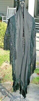 Embroidered Shawl Antique 1900-1920 Wool Hand Embroidery Scarf Victorian Cape #4