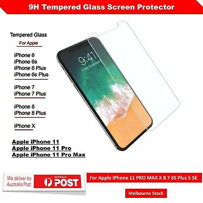 Screen Protector Tempered Glass for Apple iPhone 11 PRO MAX X 8 7 6S Plus 5 SE