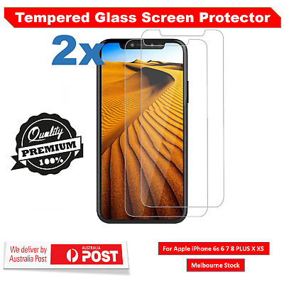 2x Anti-Shatter Tempered Glass Screen Protector for iPhone X XS 8 7 6 6S Plus 5