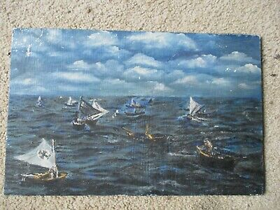 Original Vintage Oil Painting on Board Medieval Middle Ages Sea Battle Nautical