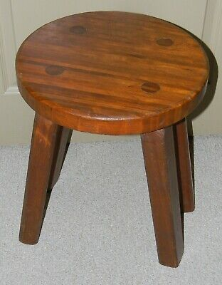VINTAGE ANTIQUE HAND CRAFTED STOOL BENCH DIFFERENT HARDWOODS & Pegged Legs