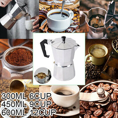 6 /9 /12 Cup Espresso Percolator Coffee Stovetop Maker Pot Electric Stove Uk