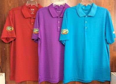 LOT of 3 NWOT L ADIDAS PUREMOTION GOLF Polo Shirt LOUD BLUE RED PURPLE