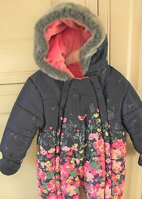 Mothercare - Baby Girl Snowsuit - Age 9-12 Months - Blue / Pink Floral