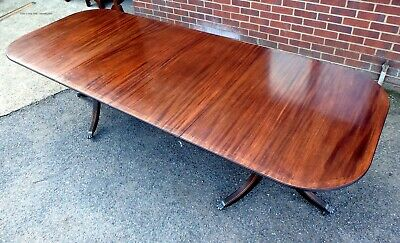 George III antique Regency style solid mahogany brass extending dining table
