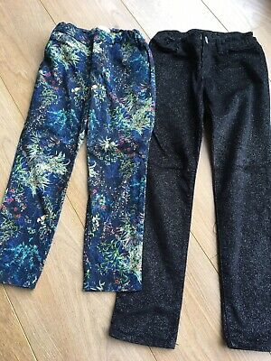 2 Pairs Girls Flowery / Sparkly Trousers Gap/Zara Age 7
