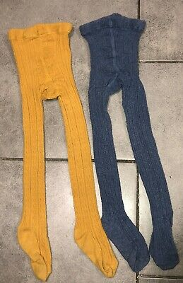 Next Girls 2x Tights Mustard & Blue Colour 3-4 Y