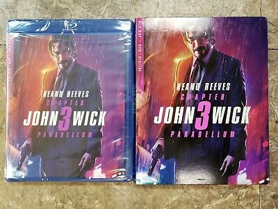 #NEW#John Wick Chapter 3 - Parabellum (Blu-ray + DVD + Digital)  W/ Slipcover