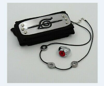 Hot Anime NARUTO Uchiha itachi Zhu Ring+Kakashi Konoha Headband 2Pc Cosplay Gift