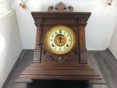 Authentic Antique Ansonia Clock Company 8 Day Striking Sharon Mantel Clock 1882