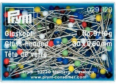 Prym Glass-head Headed Pins 30mm x 0.60mm 10g Assorted Colours 029265