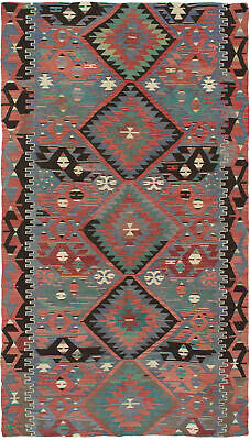 "Hand Woven Turkish Carpet 5'1"" x 9'6"" Traditional Wool Kilim Rug"