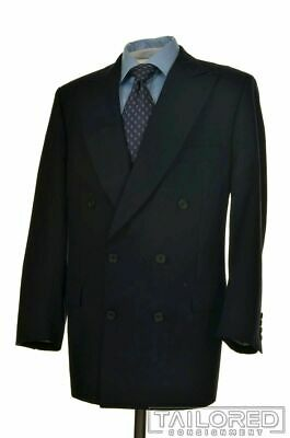PAUL STUART Solid Blue DB PEAK LAPEL 100% Wool Jacket Pants SUIT Mens - 44 L