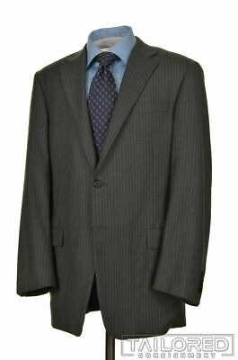 HICKEY FREEMAN Current Gray Striped FLANNEL Wool Jacket Pants SUIT Mens - 44 L