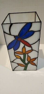 """Beautiful Leaded Stained Glass Dragonfly Votive Candle Holder, 10"""" Tall"""