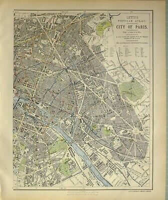 1882 Letts Map City Plan Of East Paris Theatre Gardens Stations Notre Dame