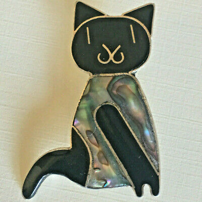 VINTAGE STERLING SILVER BLACK CAT BROOCH Enamel Jewelry ABALONE SEASHELL Mexico