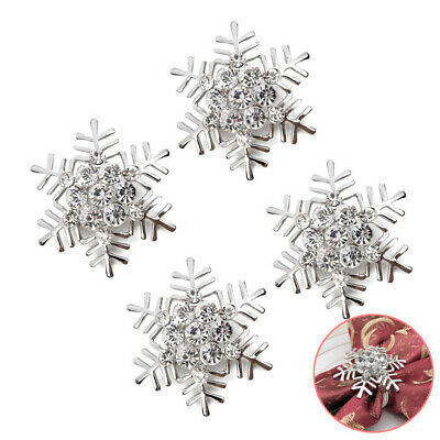 4 Pcs Snowflake Napkin Rings Silver Dinning Table Settings for Christmas Party