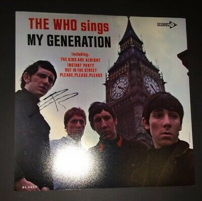SIGNED THE WHO SINGS MY GENERATION 12x12 ALBUM PRINT BY PETE TOWNSHEND PROOF