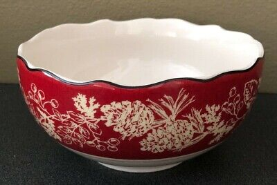 NEW 222 Fifth Andover Bowl Soup Cereal Red Holidays