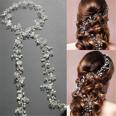 Pearl Hair Vine Wedding Crystal Bridal Accessories Diamante Headpiece - 35CM